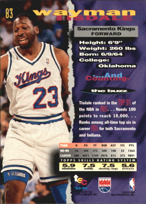 1993-94 Stadium Club First Day Issue #83 Wayman Tisdale back image