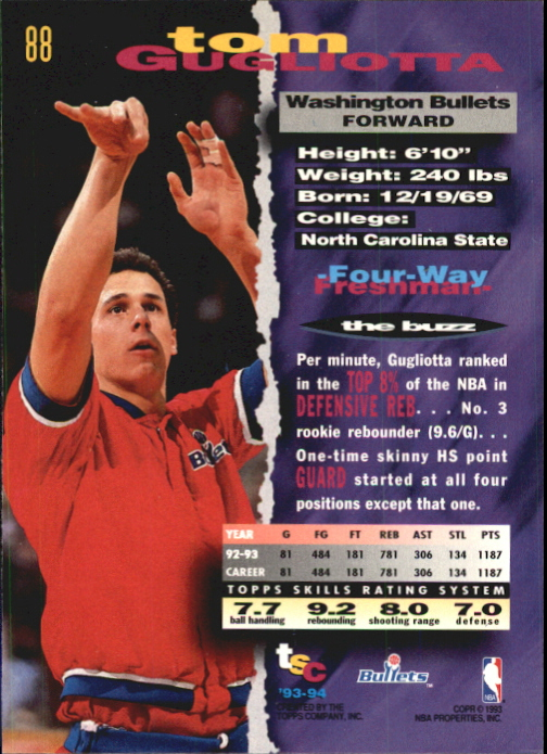 1993-94 Stadium Club First Day Issue #88 Tom Gugliotta back image