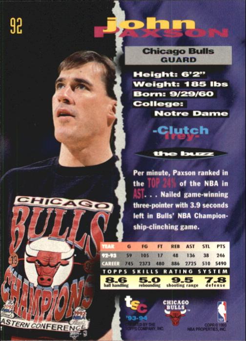 1993-94 Stadium Club First Day Issue #92 John Paxson back image