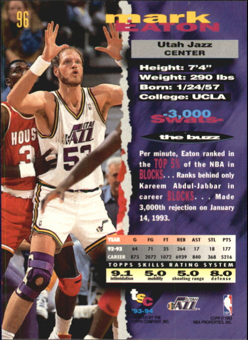 1993-94 Stadium Club First Day Issue #96 Mark Eaton back image