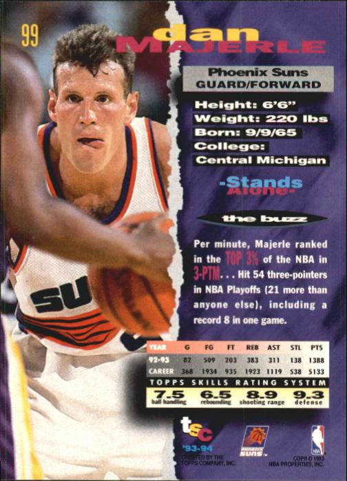 1993-94 Stadium Club First Day Issue #99 Dan Majerle back image