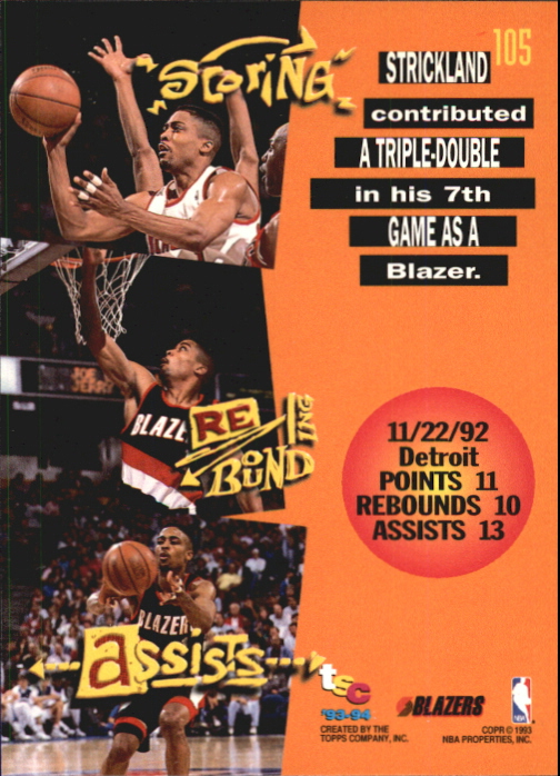 1993-94 Stadium Club First Day Issue #105 Rod Strickland TD back image