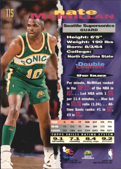1993-94 Stadium Club First Day Issue #115 Nate McMillan back image