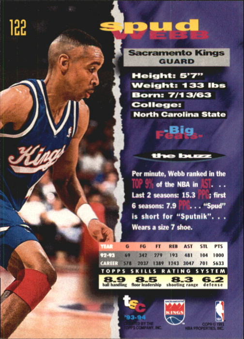 1993-94 Stadium Club First Day Issue #122 Spud Webb back image