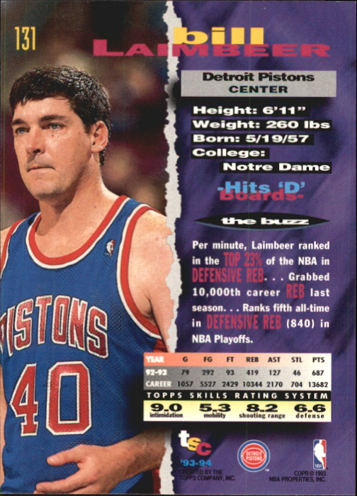 1993-94 Stadium Club First Day Issue #131 Bill Laimbeer back image