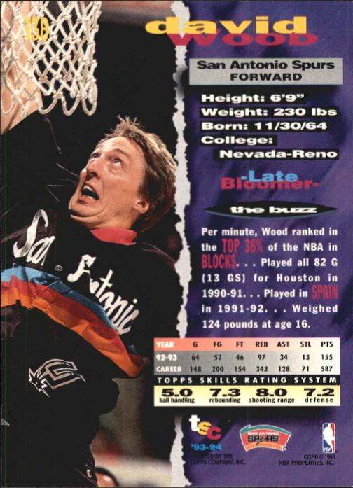 1993-94 Stadium Club First Day Issue #138 David Wood back image