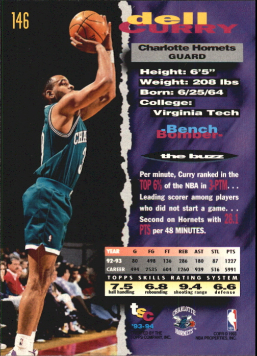 1993-94 Stadium Club First Day Issue #146 Dell Curry back image