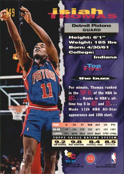 1993-94 Stadium Club First Day Issue #149 Isiah Thomas back image