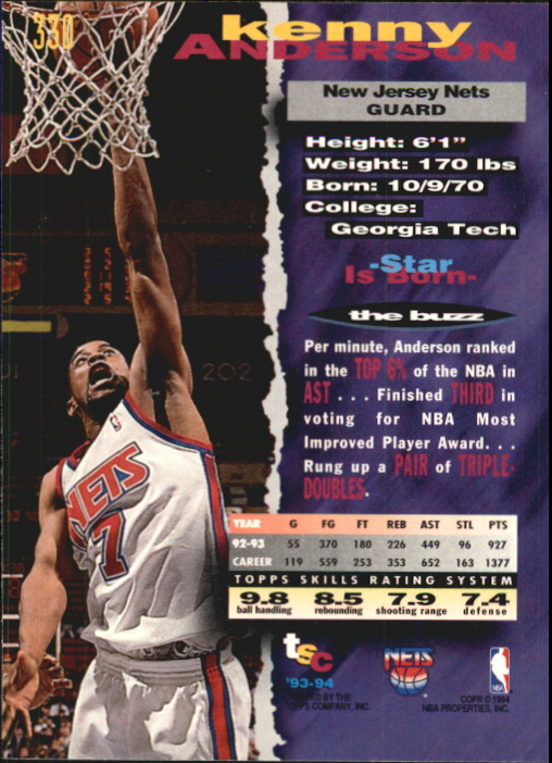 1993-94 Stadium Club First Day Issue #330 Kenny Anderson back image
