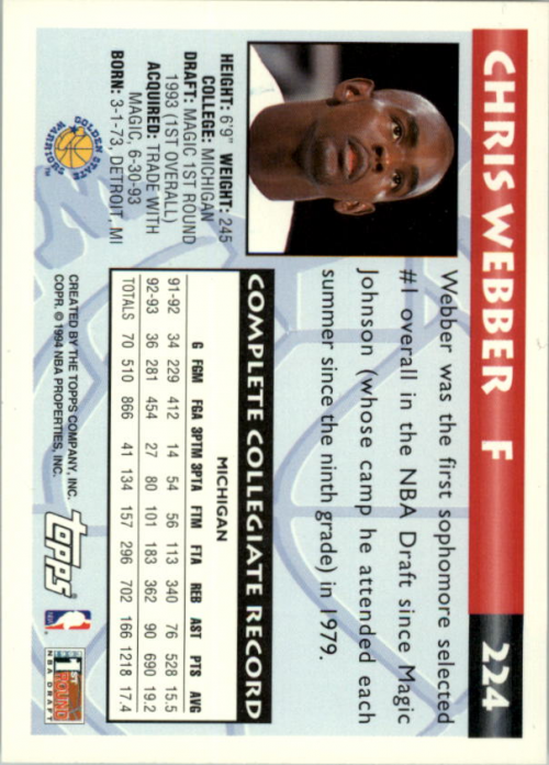 1993-94 Topps #224 Chris Webber RC back image