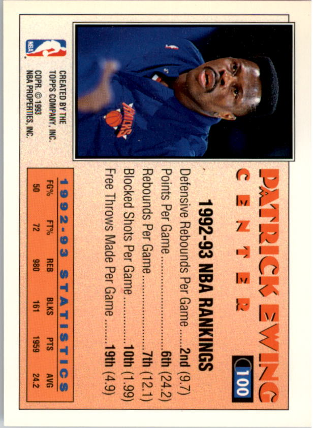 1993-94 Topps Gold #100 Patrick Ewing AS back image