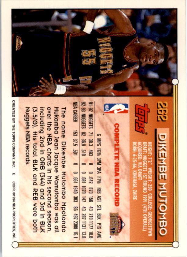 1993-94 Topps Gold #262 Dikembe Mutombo back image