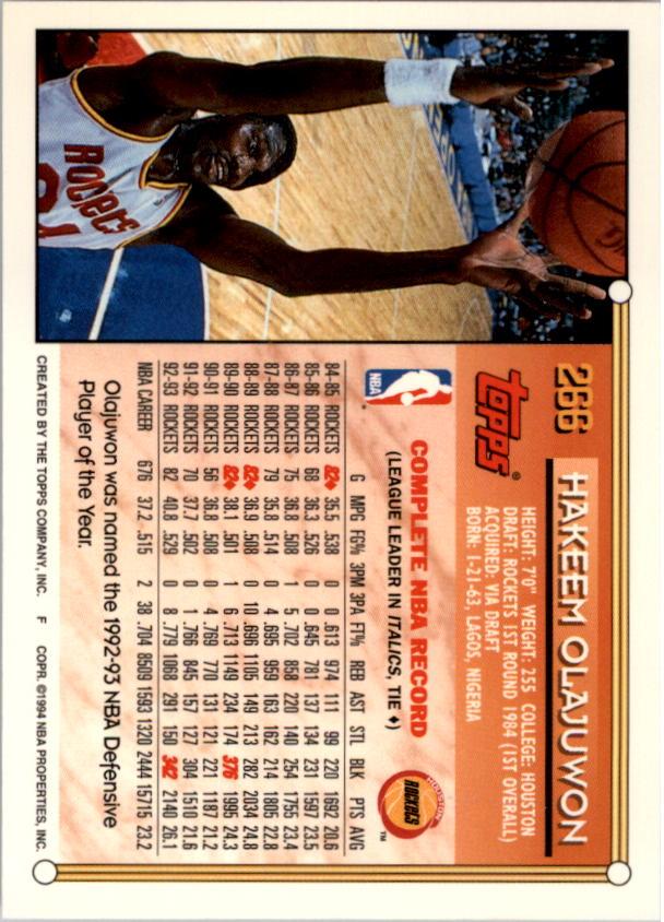 1993-94 Topps Gold #266 Hakeem Olajuwon back image