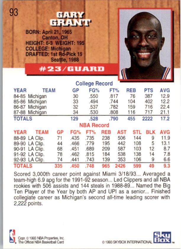 1993-94 Hoops #93 Gary Grant back image
