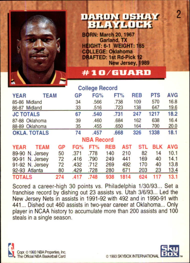 1993-94 Hoops Fifth Anniversary Gold #2 Mookie Blaylock back image