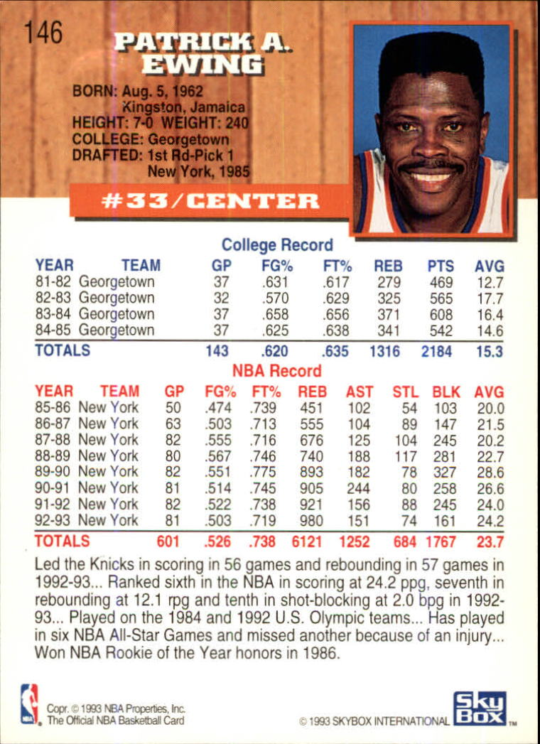1993-94 Hoops Fifth Anniversary Gold #146 Patrick Ewing back image