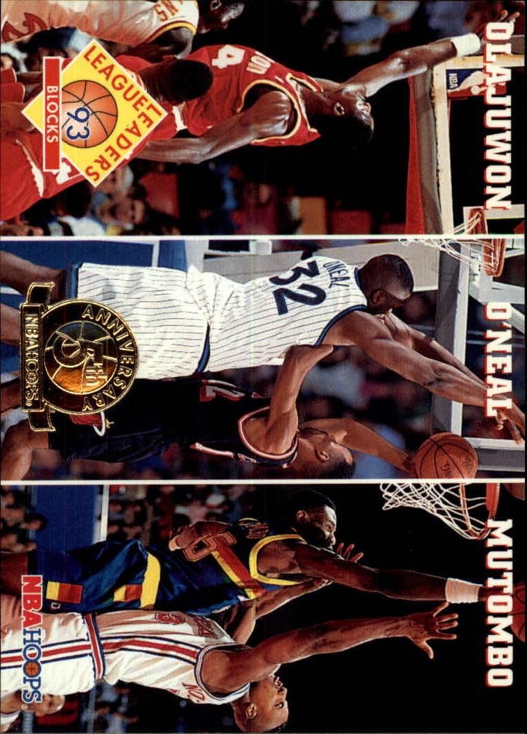 1993-94 Hoops Fifth Anniversary Gold #290 Blocks/Hakeem Olajuwon/Shaquille O'Neal/Dikembe Mutombo
