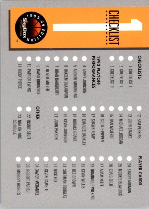 1993-94 SkyBox Premium #1 Checklist back image