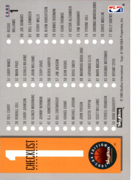 1993-94 SkyBox Premium #1 Checklist