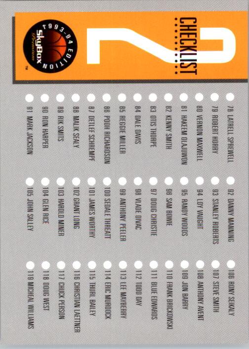 1993-94 SkyBox Premium #2 Checklist back image