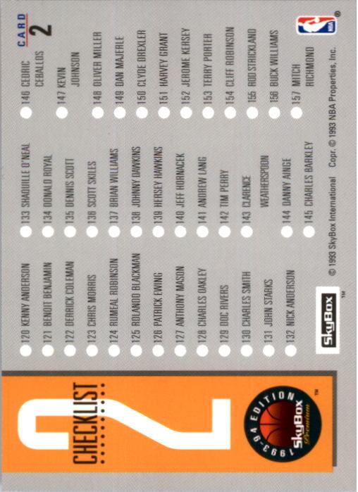 1993-94 SkyBox Premium #2 Checklist