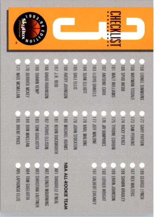 1993-94 SkyBox Premium #3 Checklist back image