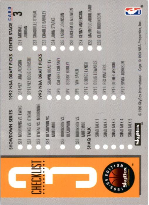 1993-94 SkyBox Premium #3 Checklist