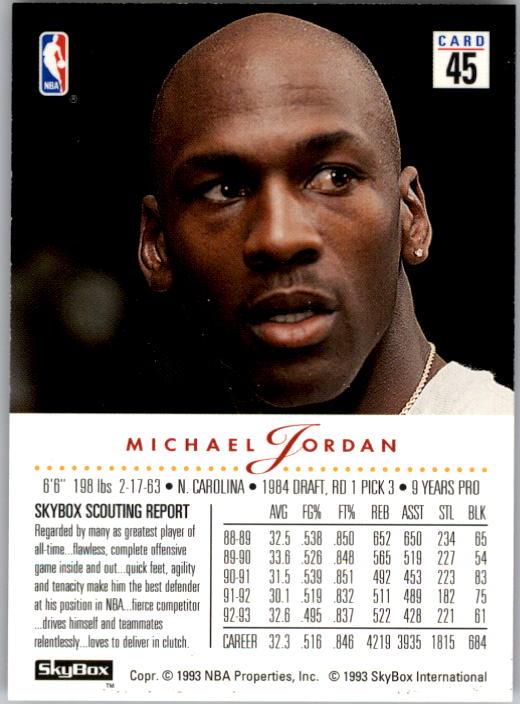 1993-94 SkyBox Premium #45 Michael Jordan back image