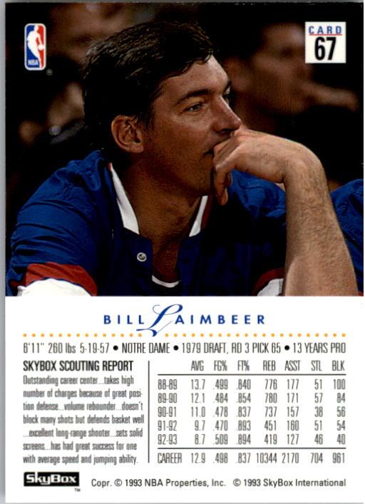 1993-94 SkyBox Premium #67 Bill Laimbeer back image