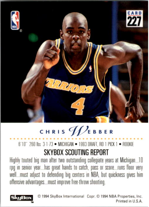 1993-94 SkyBox Premium #227 Chris Webber RC back image