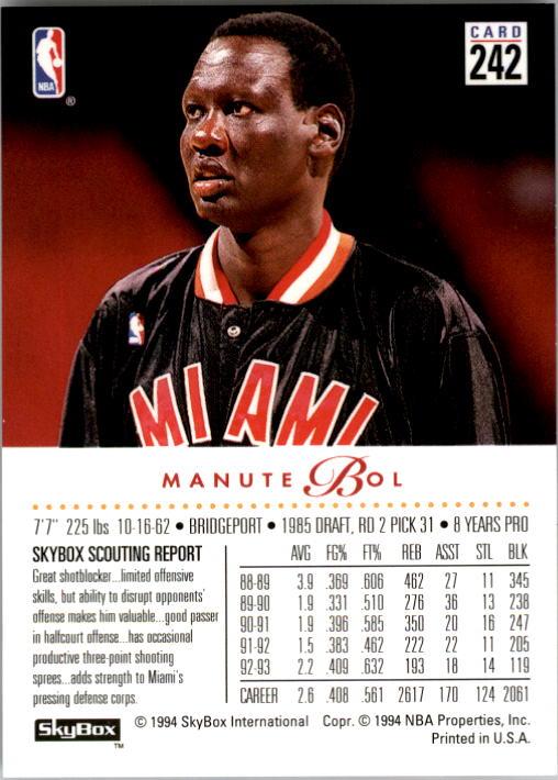1993-94 SkyBox Premium #242 Manute Bol back image