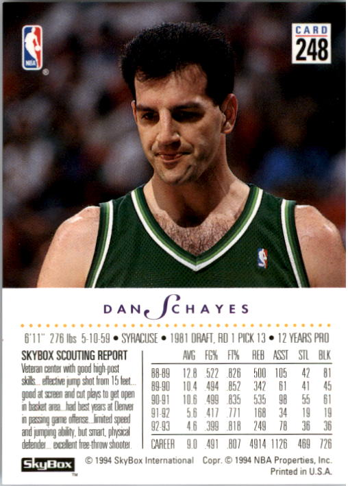 1993-94 SkyBox Premium #248 Danny Schayes back image
