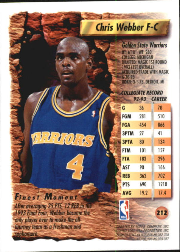 1993-94 Finest #212 Chris Webber RC back image