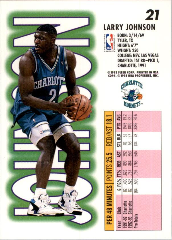 1993-94 Fleer #21 Larry Johnson back image