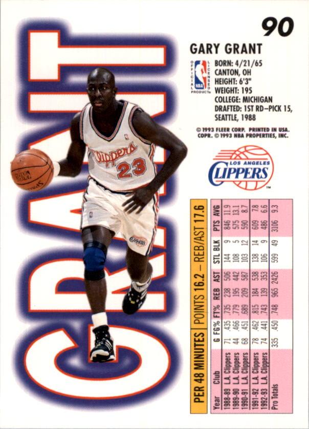 1993-94 Fleer #90 Gary Grant back image