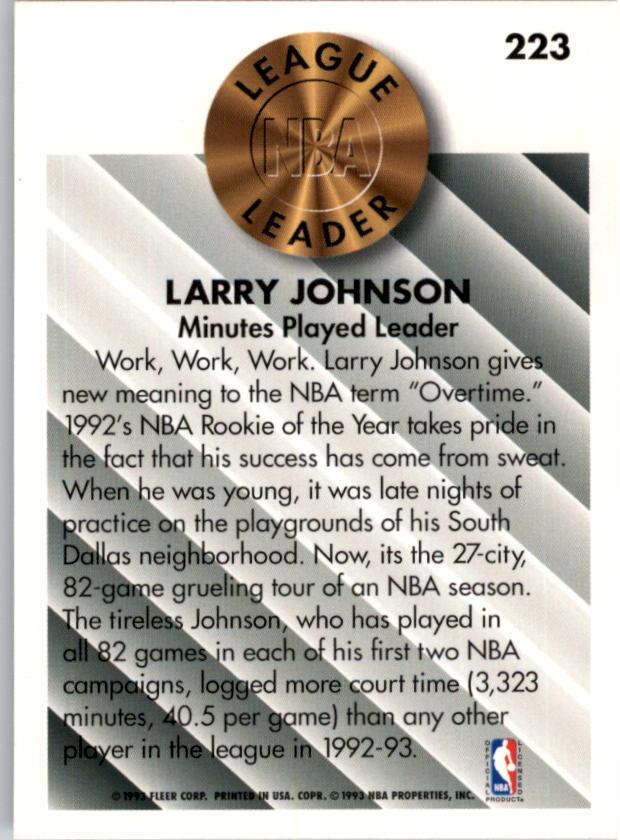 1993-94 Fleer #223 Larry Johnson LL back image