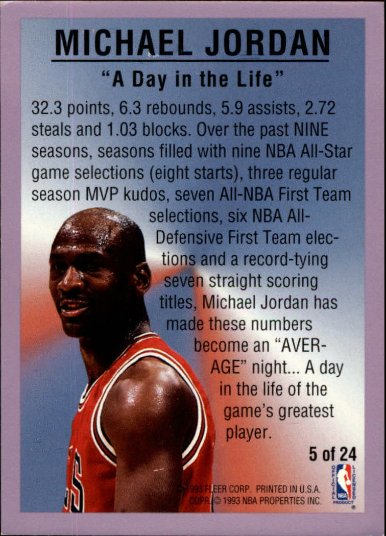 1993-94 Fleer All-Stars #5 Michael Jordan back image