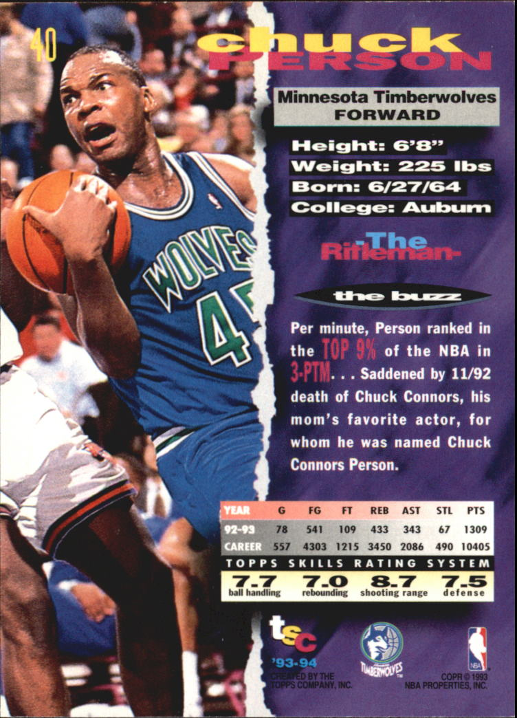 1993-94 Stadium Club Super Teams NBA Finals #40 Chuck Person back image
