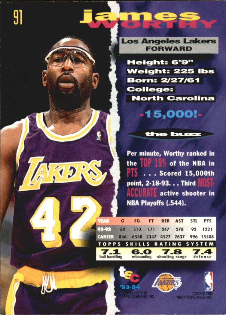 1993-94 Stadium Club Super Teams NBA Finals #91 James Worthy back image