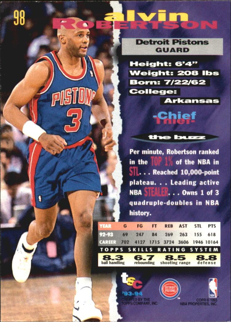1993-94 Stadium Club Super Teams NBA Finals #98 Alvin Robertson back image