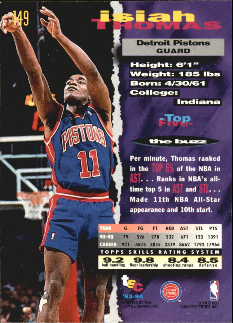 1993-94 Stadium Club Super Teams NBA Finals #149 Isiah Thomas back image