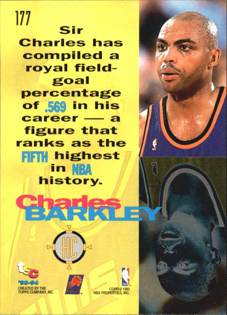 1993-94 Stadium Club Super Teams NBA Finals #177 Charles Barkley HC back image