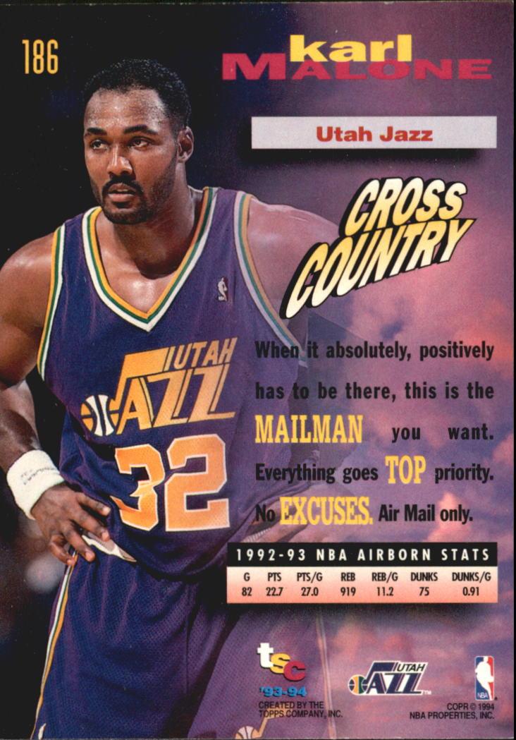 1993-94 Stadium Club Super Teams NBA Finals #186 Karl Malone FF back image