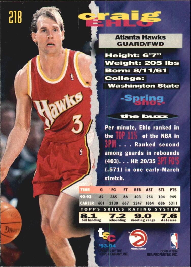 1993-94 Stadium Club Super Teams NBA Finals #218 Craig Ehlo back image