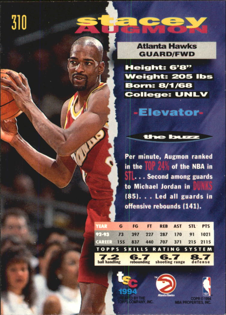 1993-94 Stadium Club Super Teams NBA Finals #310 Stacey Augmon back image