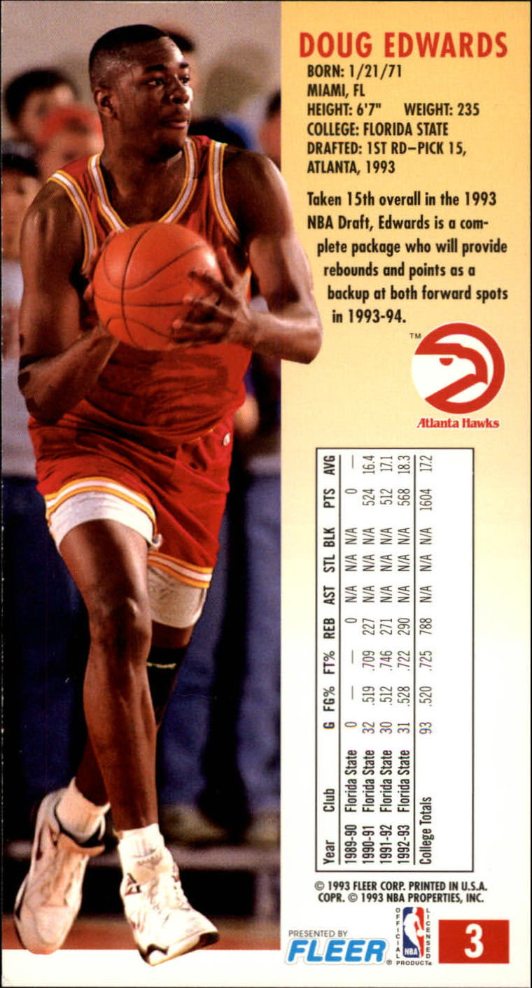 1993-94 Jam Session #3 Doug Edwards RC back image