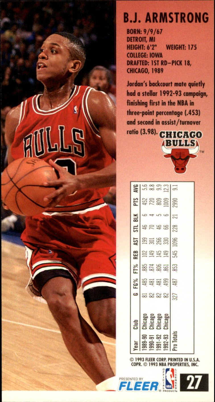 1993-94 Jam Session #27 B.J. Armstrong back image