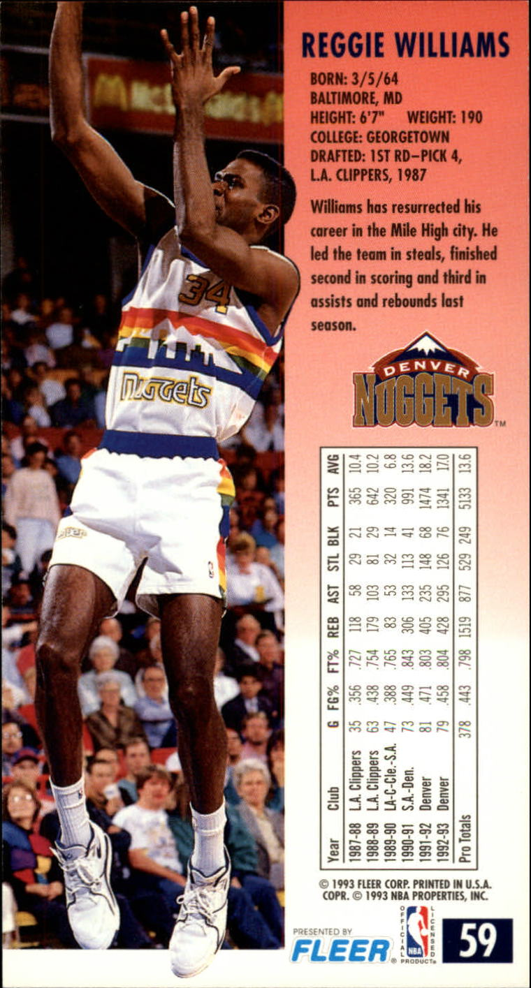 1993-94 Jam Session #59 Reggie Williams back image