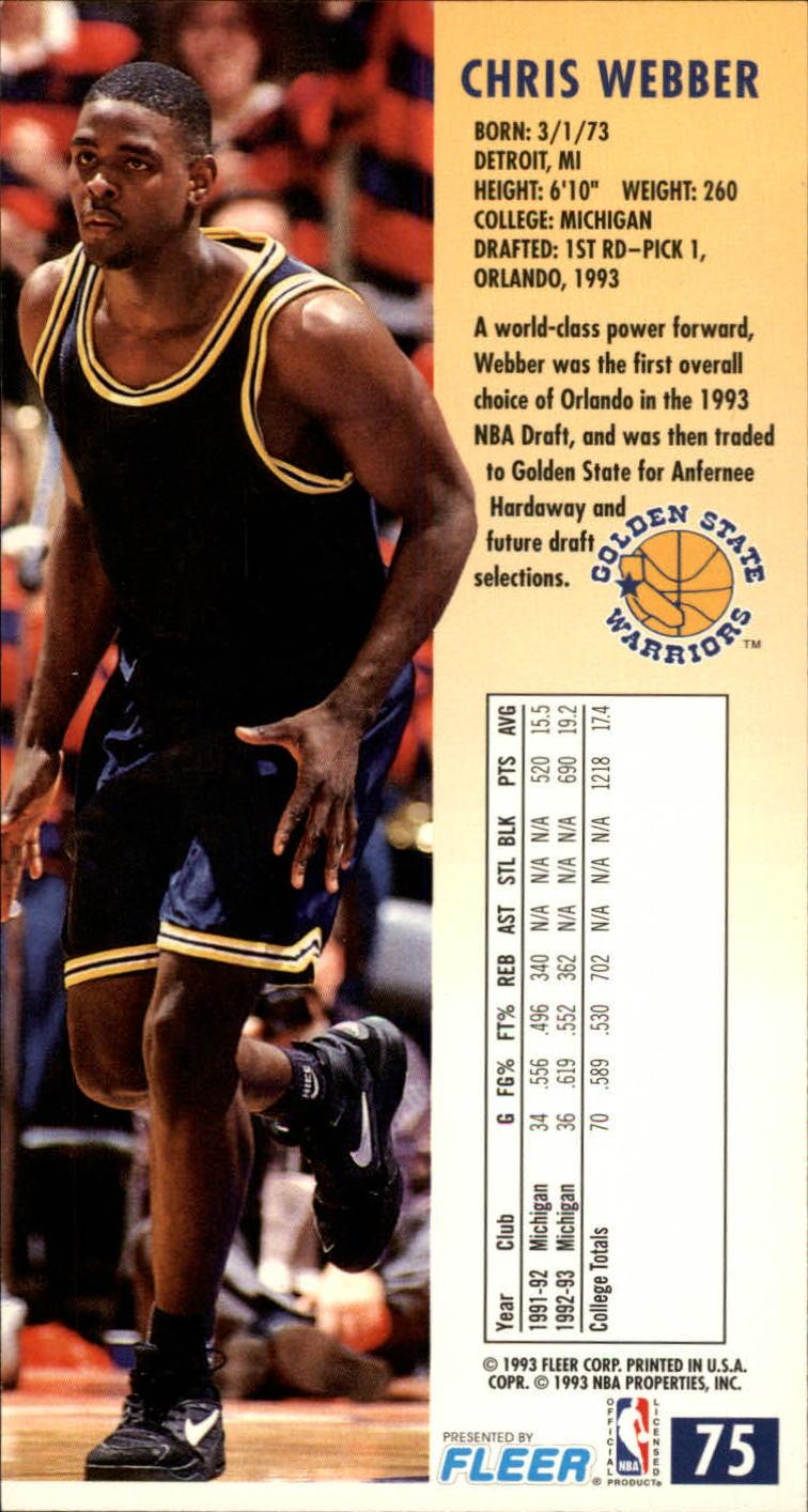 1993-94 Jam Session #75 Chris Webber RC back image