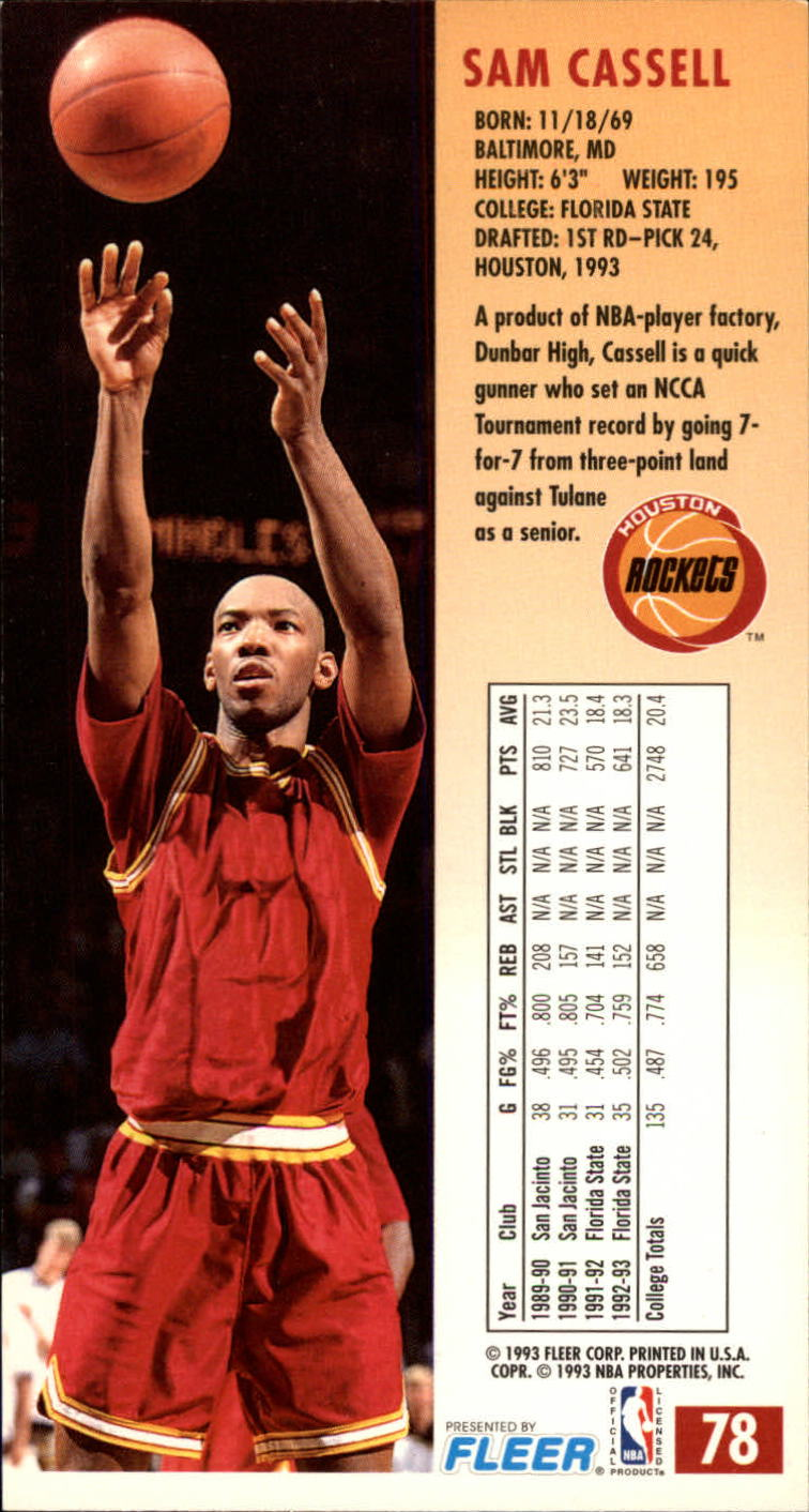 1993-94 Jam Session #78 Sam Cassell RC back image